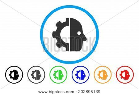 Cyborg Gear rounded icon. Vector illustration style is a grey flat iconic cyborg gear symbol inside a circle. Additional color variants are black, gray, green, blue, red, orange.