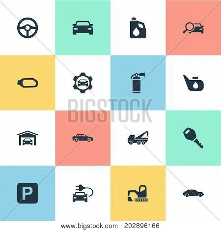 Elements Hoisting Machine, Road Sign, Lock And Other Synonyms Lock, Fuel And Spare.  Vector Illustration Set Of Simple Automobile Icons.