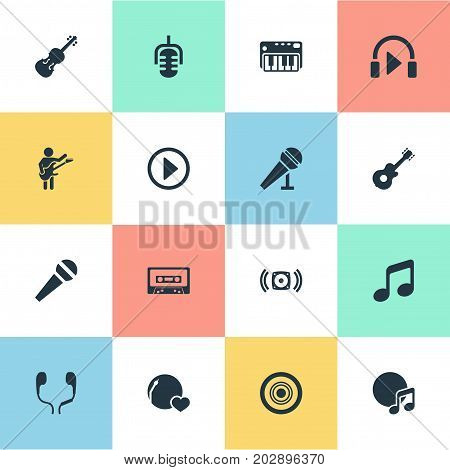 Elements Loudspeaker, Tape, Guitarist And Other Synonyms Speaker, Guitarist And Disk.  Vector Illustration Set Of Simple Melody Icons.