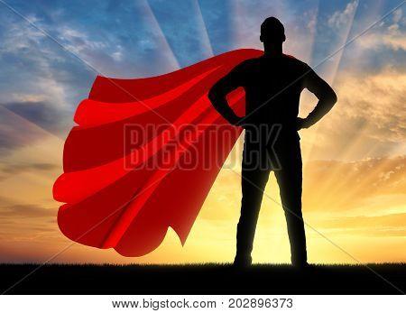 Successful Strong Superhero Businessman