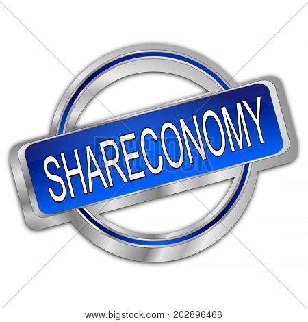 decorative silver blue Shareconomy Button - 3D illustration
