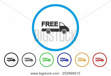 Free Delivery Car rounded icon. Vector illustration style is a grey flat iconic free delivery car symbol inside a circle. Additional color variants are black, gray, green, blue, red, orange.