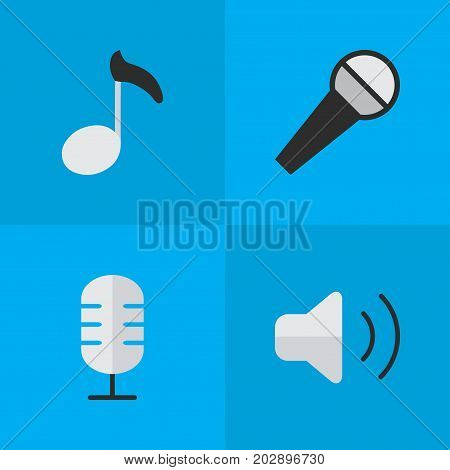 Elements Note, Loudness, Mike And Other Synonyms Amplifier, Mike And Volume.  Vector Illustration Set Of Simple Melody Icons.