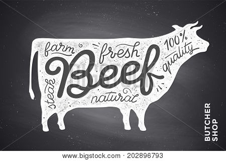 Trendy illustration with red cow silhouette and words Beef, fresh, steak, natural, farm. Creative graphic design for butcher shop, farmer market. Poster for meat related theme. Vector Illustration