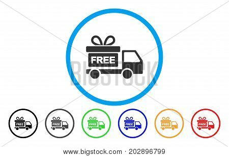 Gift Delivery Car rounded icon. Vector illustration style is a gray flat iconic gift delivery car symbol inside a circle. Additional color variants are black, grey, green, blue, red, orange.