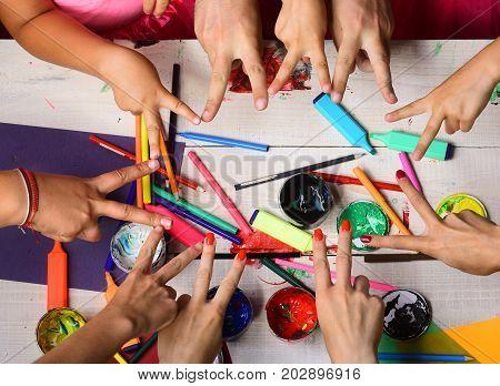 Art And Idea Concept. Art Supplies In Hands