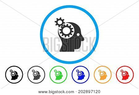Head Gears rounded icon. Vector illustration style is a gray flat iconic head gears symbol inside a circle. Additional color variants are black, gray, green, blue, red, orange.