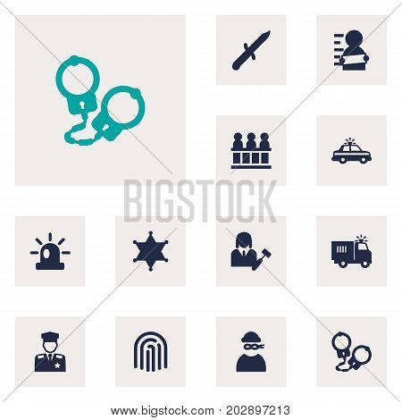 Collection Of Signal, Suspicious, Lawyer And Other Elements.  Set Of 12 Crime Icons Set.
