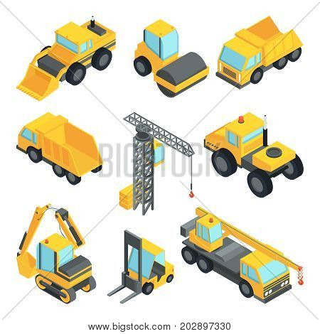 3d transport for construction industry. Vector isometric cars isolate. Industrial equipment machine transportation and construction transport illustration