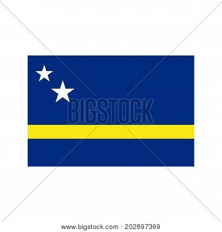 Curacao flag on the white background. Vector illustration