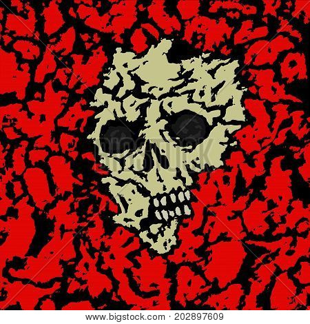 Skull covered with ground. Vector illustration. Black and white colors. Genre of horror. Scary monster face. States of mind.