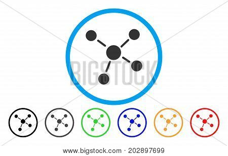Links rounded icon. Vector illustration style is a gray flat iconic links symbol inside a circle. Additional color variants are black, grey, green, blue, red, orange.