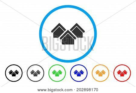 Real Estate rounded icon. Vector illustration style is a gray flat iconic real estate symbol inside a circle. Additional color versions are black, gray, green, blue, red, orange.
