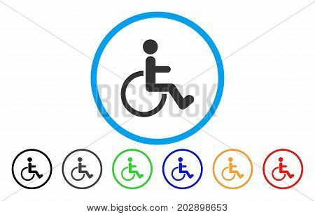 Disabled Person rounded icon. Vector illustration style is a gray flat iconic disabled person symbol inside a circle. Additional color versions are black, grey, green, blue, red, orange.