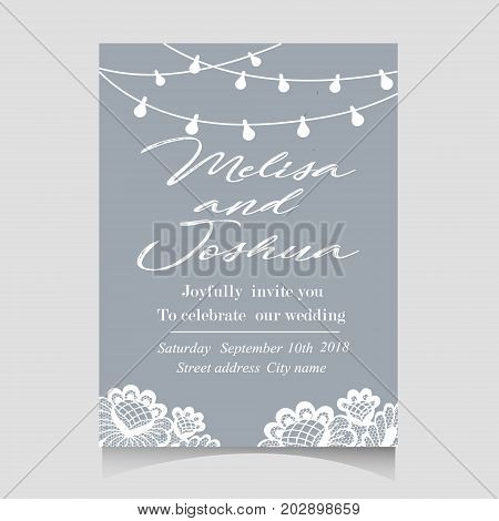 Save the Date Invitation Card with Holiday Lights
