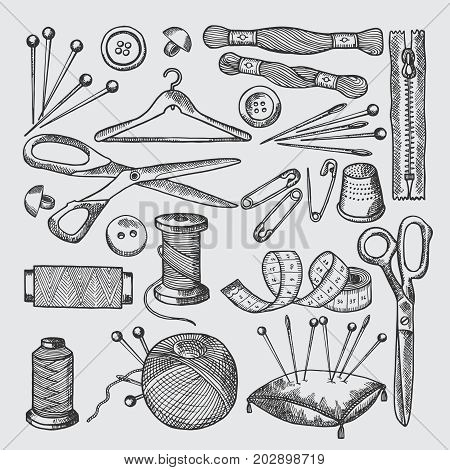 Different tools for sewing workshop. Vector pictures in hand drawn style. Craft sewing and handmade with textile illustration