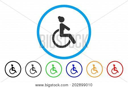 Disabled Woman rounded icon. Vector illustration style is a grey flat iconic disabled woman symbol inside a circle. Additional color variants are black, gray, green, blue, red, orange.