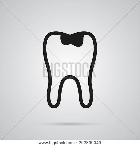 Vector Caries Element In Trendy Style.  Isolated Seal Icon Symbol On Clean Background.