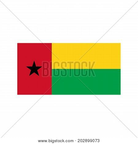 Guinea-Bissau flag on the white background. Vector illustration