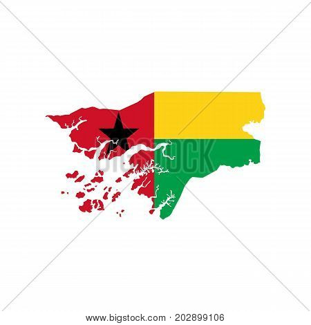 Guinea-Bissau map and flag on the white background. Vector illustration