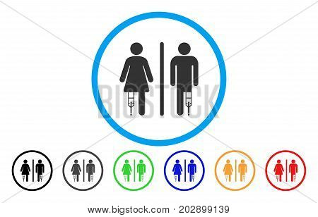 Patient WC Persons rounded icon. Vector illustration style is a grey flat iconic patient wc persons symbol inside a circle. Additional color variants are black, grey, green, blue, red, orange.