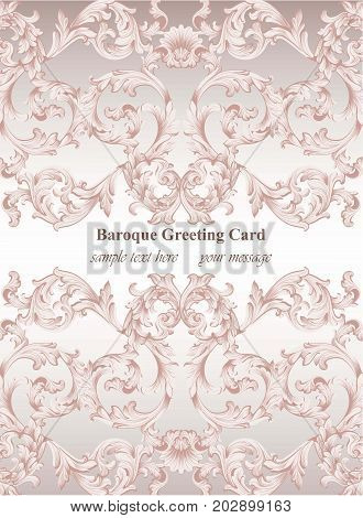 Luxury Baroque card ornament background Vector. Rich imperial intricate elements. Victorian Royal style patterns
