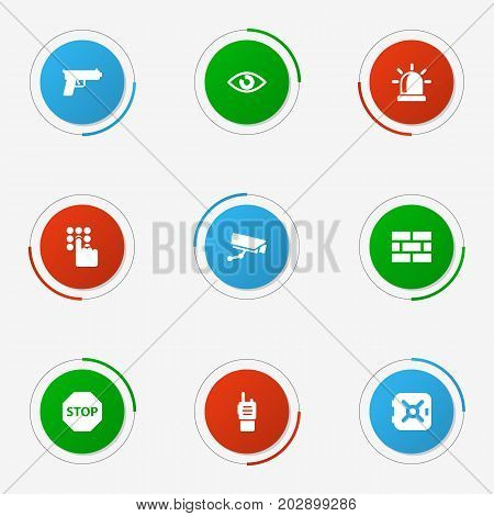 Collection Of Surveillance, Walkie-Talkie, Sign And Other Elements.  Set Of 9 Safety Icons Set.
