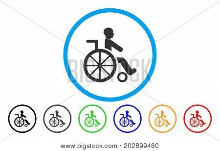 Wheelchair rounded icon. Vector illustration style is a gray flat iconic wheelchair symbol inside a circle. Additional color versions are black, grey, green, blue, red, orange.