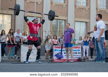 Donetsk Ukraine - August 26 2017: Competition in power sports during the celebration of the city day