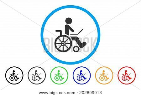Wheelchair rounded icon. Vector illustration style is a grey flat iconic wheelchair symbol inside a circle. Additional color versions are black, gray, green, blue, red, orange.