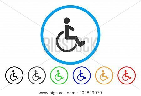 Wheelchair rounded icon. Vector illustration style is a grey flat iconic wheelchair symbol inside a circle. Additional color versions are black, grey, green, blue, red, orange.