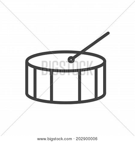 Vector Percussion  Element In Trendy Style.  Isolated Drum Outline Symbol On Clean Background.