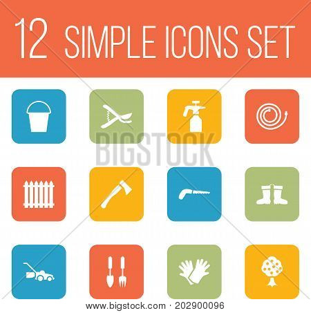 Collection Of Bucket, Lawn Mower, Latex And Other Elements.  Set Of 12 Horticulture Icons Set.
