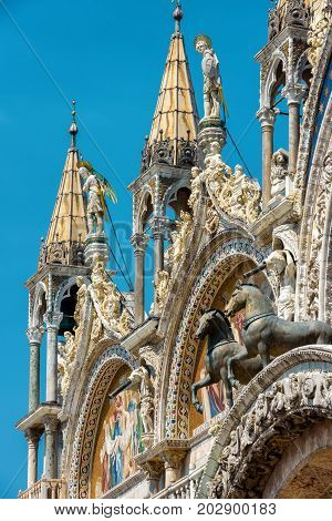 Basilica di San Marco (Saint Mark`s Basilica) in Venice, Italy. Basilica di San Marco was built in the 12th century and is the main tourist attraction of Venice.
