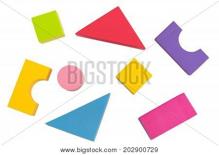 Kid toy geometry top view isolated on white background kid or child development concept