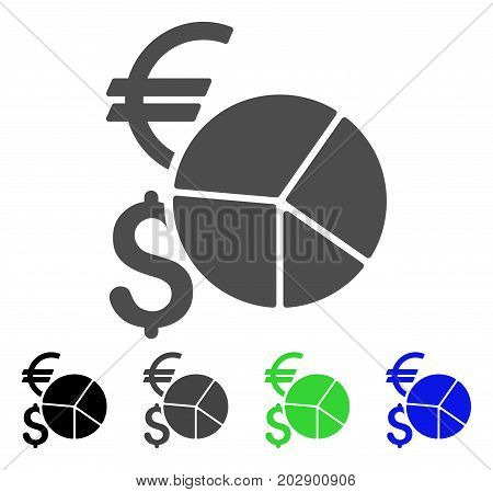 Currency Pie Chart icon. Vector illustration style is a flat iconic currency pie chart symbol with black, grey, green, blue color variants. Designed for web and software interfaces.