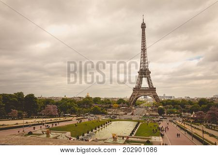 Eiffel Tower In Paris, France In Bad Weather
