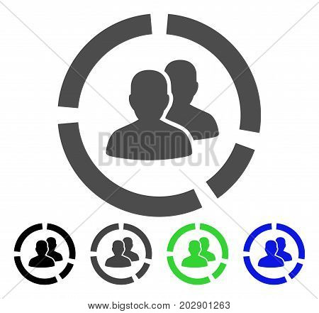 Demography Diagram icon. Vector illustration style is a flat iconic Demography diagram symbol with black, gray, green, blue color variants. Designed for web and software interfaces.
