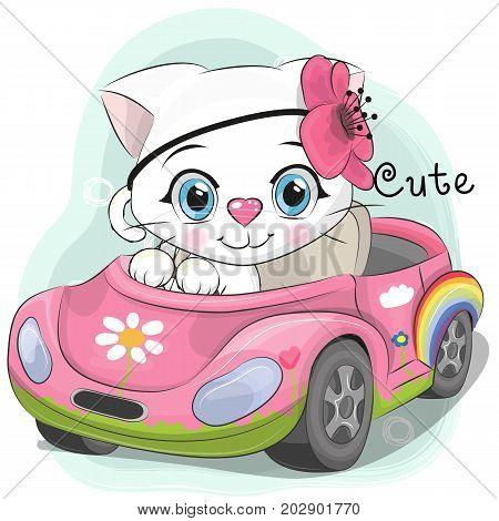 Cute Cartoon white Kitten Girl goes on a pink car
