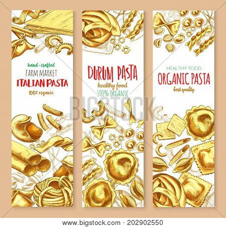 Italian pasta banners for restaurant or farm market. Vector set of spaghetti, lasagna or fettuccine and ravioli, organic durum farfalle pasta, tagliatelle and konkiloni bucatini for healthy food