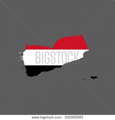 Yemen flag and map on the gray background. Vector illustration