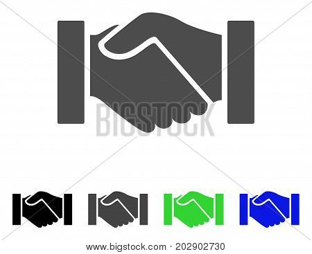 Handshake icon. Vector illustration style is a flat iconic handshake symbol with black, gray, green, blue color variants. Designed for web and software interfaces.