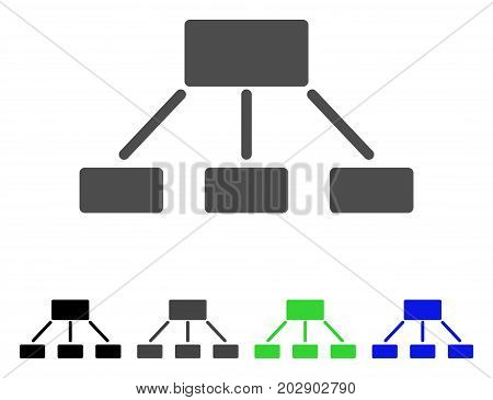 Hierarchy icon. Vector illustration style is a flat iconic hierarchy symbol with black, gray, green, blue color variants. Designed for web and software interfaces.