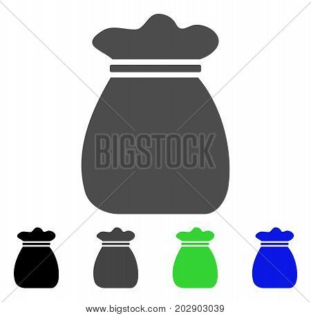Profit Bag icon. Vector illustration style is a flat iconic profit bag symbol with black, grey, green, blue color variants. Designed for web and software interfaces.