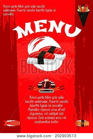 Sushi poster template for Japanese food restaurant or bar menu. Vector red Japan design of sushi rolls with salmon and eel, unagi maki and fish sashimi in nori seaweed and chopsticks in steamed rice