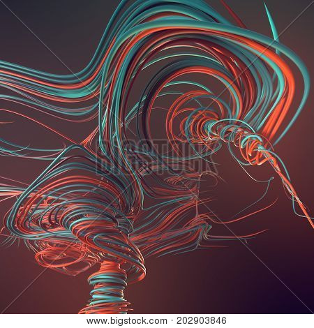 Abstract colored strands. Lines pattern. 3D rendering