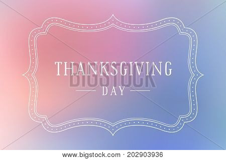 Old vintage frame with text Thanksgiving Day. Greeteig card with old frame for Thanksgiving Day. Antique and baroque colorful frame on color background. Vector Illustration