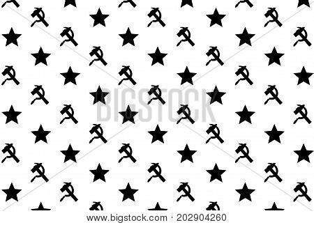 Star, sickle and hammer - black symbol on white background - vector pattern