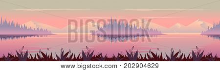 Autumn background. Nature landscape vector graphics, Vector illustration for your design.