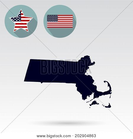 Map of the U.S. state of Massachusetts on a white background. American flag star